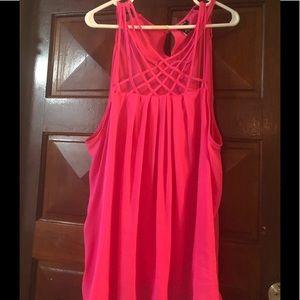 Pink Lattice neckline swing cami